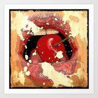 Red Cherry Lips Art Print