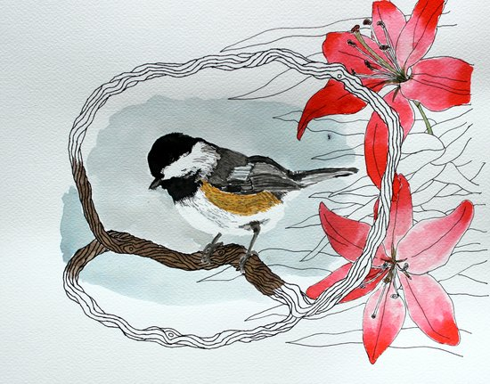 Black capped chickadee and fantasy flowers and lines Canvas Print