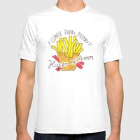 Comer Papas Fritas y Hacer el Amor Mens Fitted Tee White SMALL