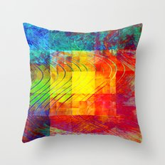 Abstract Painting Squares Throw Pillow