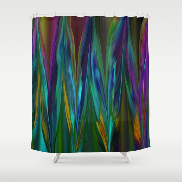 feathers abstract shower curtain by jen warmuth art and