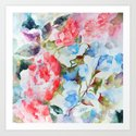 Peonies and Morning Glory Art Print
