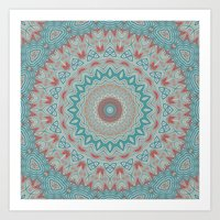 Tribal Medallion Teal Art Print