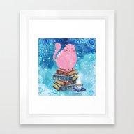 Bookish Cat In Winter Framed Art Print