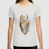 Owl Love You Womens Fitted Tee Silver SMALL