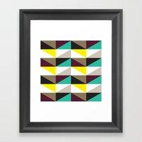 Yellow, purple, turquoise triangle pattern Framed Art Print