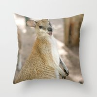 Smiling Kangaroo Throw Pillow