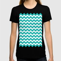 Chevron (Tiffany Blue/White) Womens Fitted Tee Black SMALL