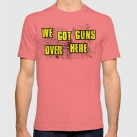 WE GOT GUNS OVER HERE Mens Fitted Tee Pomegranate SMALL