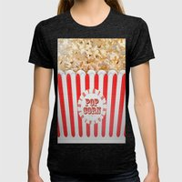 POP CORN Womens Fitted Tee Tri-Black SMALL