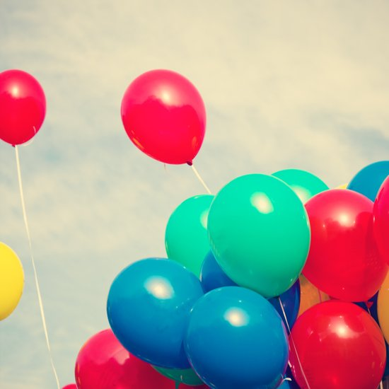 Red and Blue balloons on retro sky Art Print