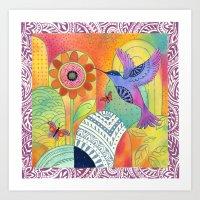 Indigo Hummingbird Art Print
