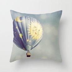 Moon and Stars Hot Air Balloon Throw Pillow