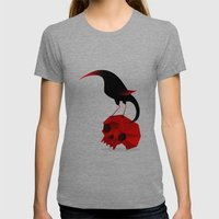 Bird And Skull Womens Fitted Tee Tri-Grey SMALL