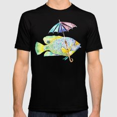 Fishy Fish - Original Watercolor of Yellow Mask Angel Fish with Umbrella Mens Fitted Tee Black SMALL