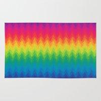 neon rainbow feather chevron  Rug