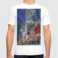 Times Square SMALL White Mens Fitted Tee