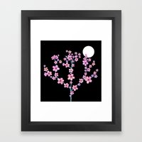Cherry Blossoms At Night Framed Art Print