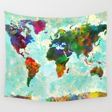 Abstract Watercolor World Map Wall Tapestry