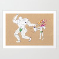 Hercules accidentally kills the boy who brought him a water jar Art Print