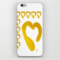 Gold Hearts On White - L… iPhone & iPod Skin