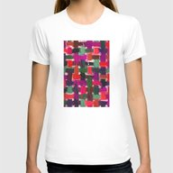 Red, Purple & Green Womens Fitted Tee White SMALL