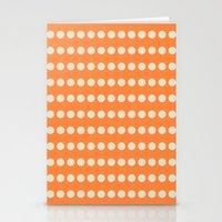 Circular Orange Dots Pattern Stationery Cards