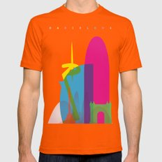 Shapes of Barcelona. Accurate to scale Mens Fitted Tee Orange SMALL
