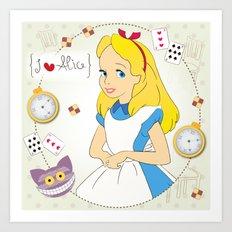 I {❤} Alice In Her Wonderland Art Print