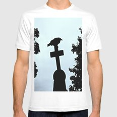 Pere-Lachaise Raven Mens Fitted Tee SMALL White
