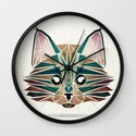 blue cat  Wall Clock