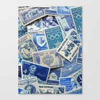 Vintage Postage Stamp Collection - 02 (Blues) Canvas Print