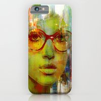 iPhone & iPod Case featuring red glasses girl by Ganech joe