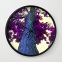 blue tree Wall Clock