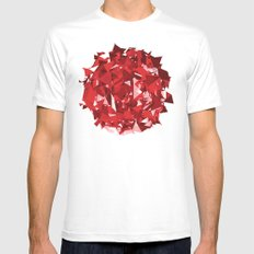 Abstract Red Mens Fitted Tee SMALL White