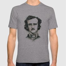 Edgar Allan Poe and Ravens Mens Fitted Tee Athletic Grey SMALL
