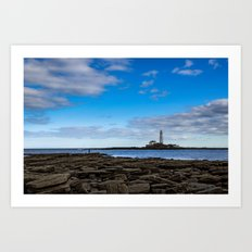The fisherman and the lighthouse. Art Print