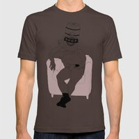 LAZY, BEER AND REMOTE ON COUCH Mens Fitted Tee Brown SMALL