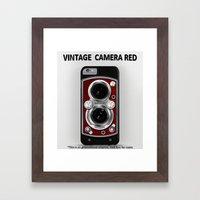Vintage Camera Red Framed Art Print