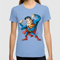 Strong man in Costume Womens Fitted Tee Tri-Blue SMALL