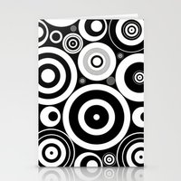 Black And White Circles Stationery Cards
