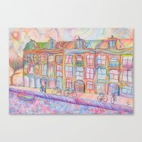 Wandering Amsterdam - Colored Pencil Canvas Print