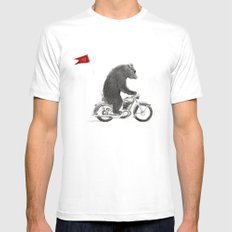 Motorcycle Bear White SMALL Mens Fitted Tee