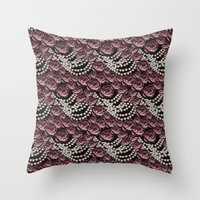 Roses And Pearls Throw Pillow