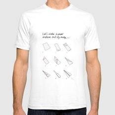 Paper Airplane White SMALL Mens Fitted Tee