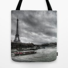 The Eiffel Tower and the Seine - Paris cityscape - hdr Tote Bag