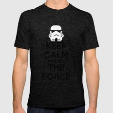 Keep Calm and use the Force Mens Fitted Tee Tri-Black SMALL