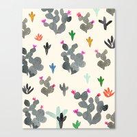 Cactus Desert Black And … Canvas Print