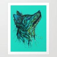 Sea Fox In Aqua Art Print