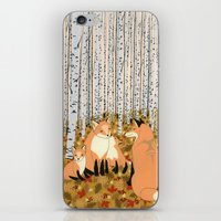 Fox family in the autumn forest iPhone & iPod Skin